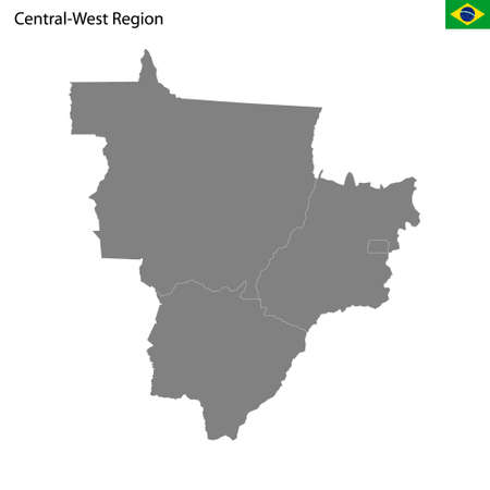 High Quality map Central-West region of Brazil, with borders of the states