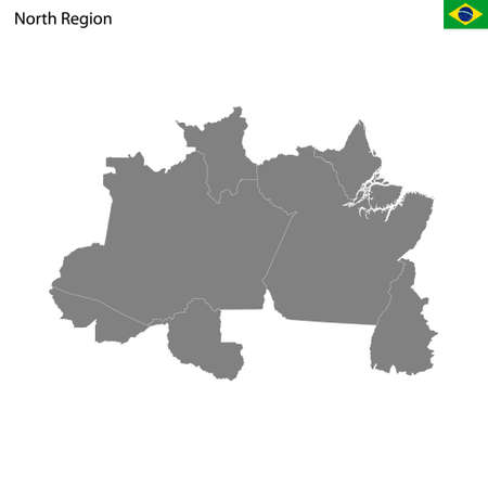 High Quality map North region of Brazil, with borders of the states