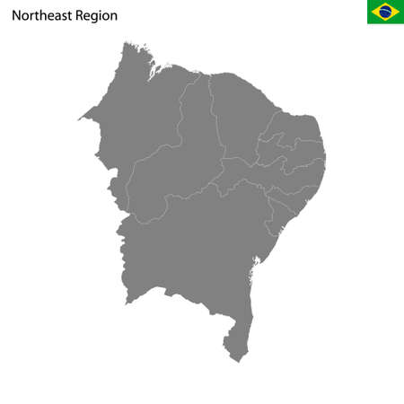 High Quality map Northeast region of Brazil, with borders of the states 矢量图像