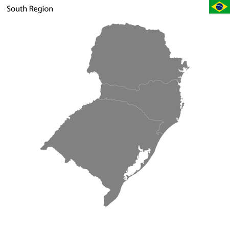 High Quality map South region of Brazil, with borders of the states