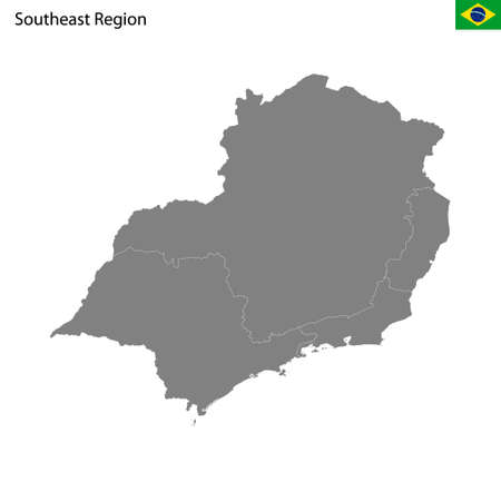 High Quality map Southeast region of Brazil, with borders of the states