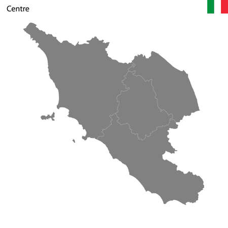 High Quality map Central region of Italy, with borders of the provinces 矢量图像