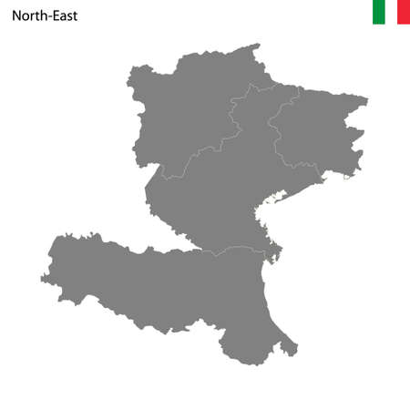 High Quality map Northeast region of Italy, with borders of the provinces
