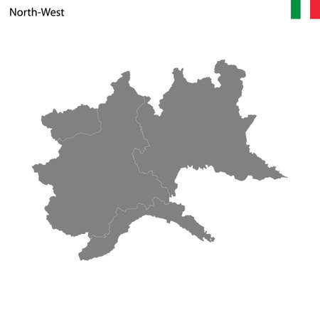 High Quality map Northwest region of Italy, with borders of the provinces
