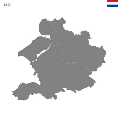 High Quality map East region of Netherlands, with borders of the provinces