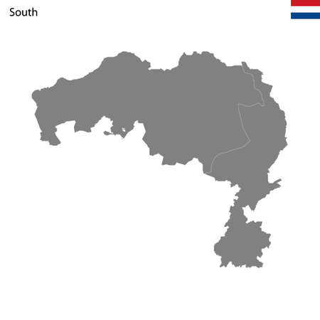 High Quality map South region of Netherlands, with borders of the provinces