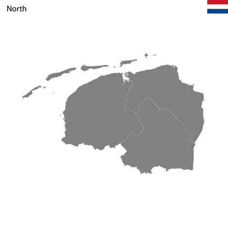 High Quality map North region of Netherlands, with borders of the provinces