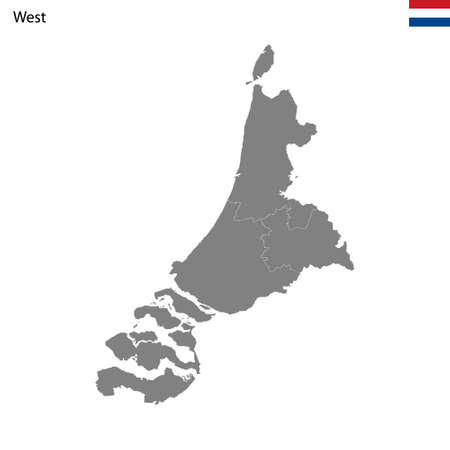High Quality map West region of Netherlands, with borders of the provinces