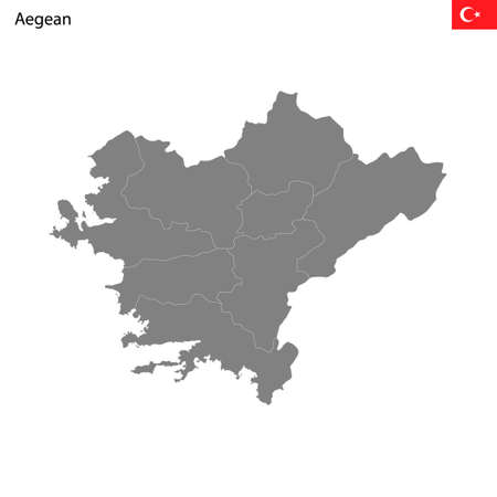 High Quality map Aegean region of Turkey, with borders of the provinces
