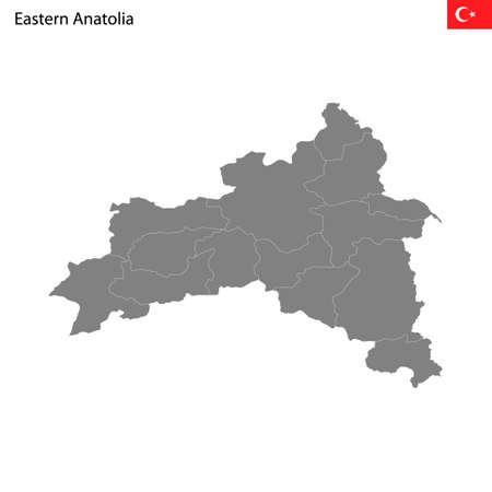 High Quality map Eastern Anatolia region of Turkey, with borders of the provinces