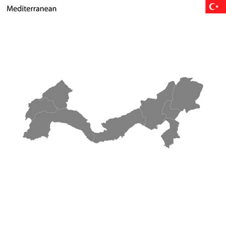 High Quality map Mediterranean region of Turkey, with borders of the provinces