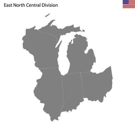 High Quality map of East North Central division of United States of America with borders of the states 矢量图像