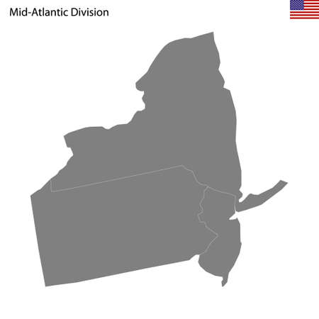 High Quality map of Mid-Atlantic division of United States of America with borders of the states 矢量图像