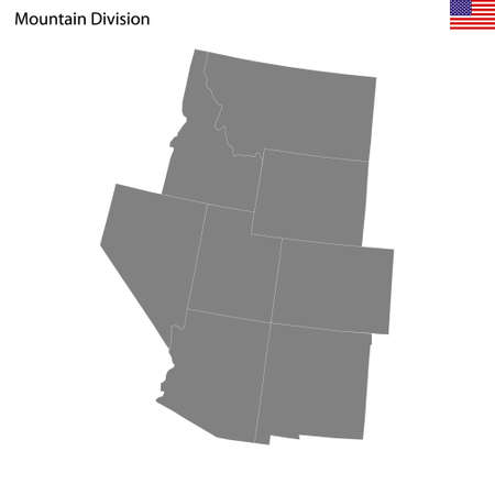 High Quality map of Mountain division of United States of America with borders of the states