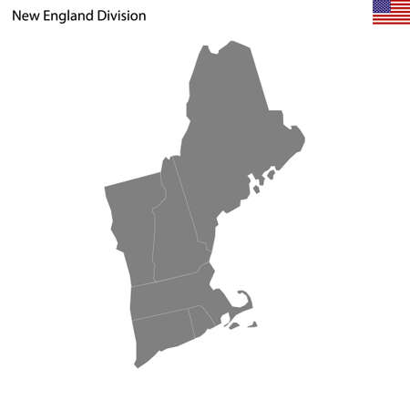 High Quality map of New England division of United States of America with borders of the states 矢量图像