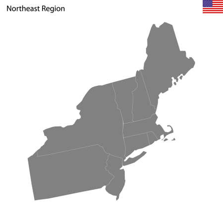 High Quality map of Northeast region of United States of America with borders of the states