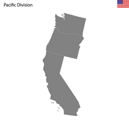 High Quality map of Pacific division of United States of America with borders of the states