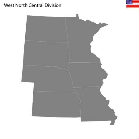 High Quality map of West North Central division of United States of America with borders of the states