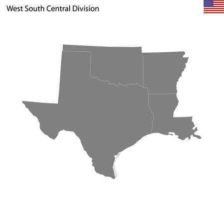 High Quality map of West South Central division of United States of America with borders of the states