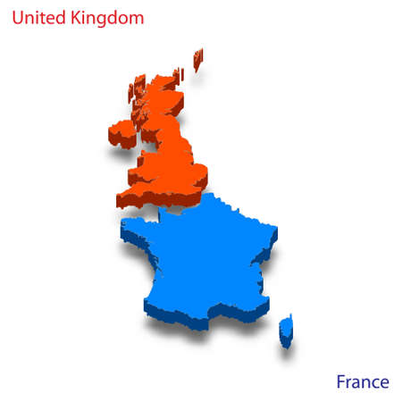 3d isometric map United Kingdom and France relations vector illustration