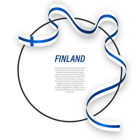 Waving ribbon flag of Finland on circle frame. Template for independence day poster design