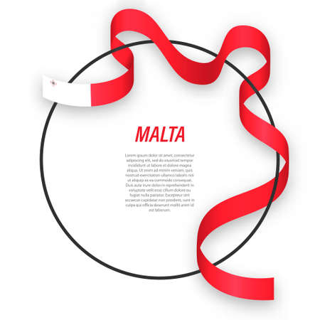 Waving ribbon flag of Malta on circle frame. Template for independence day poster design