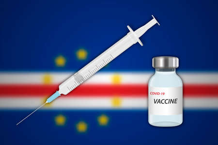 Syringe and vaccine vial on blur background with Cape Verde flag, Template for vaccination banner