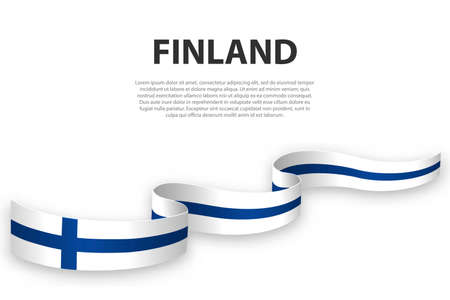 Waving ribbon or banner with flag of Finland. Template for independence day poster design