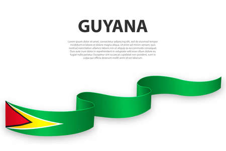 Waving ribbon or banner with flag of Guyana. Template for independence day poster design