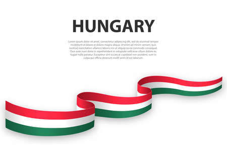 Waving ribbon or banner with flag of Hungary. Template for independence day poster design