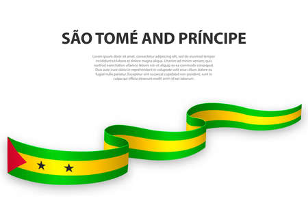 Waving ribbon or banner with flag of Sao Tome and Principe. Template for independence day poster design