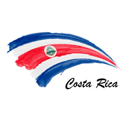 Watercolor painting flag of Costa Rica. Hand drawing brush stroke illustration