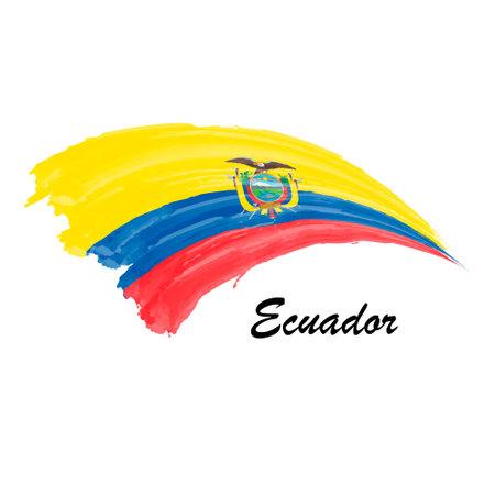Watercolor painting flag of Ecuador. Hand drawing brush stroke illustration
