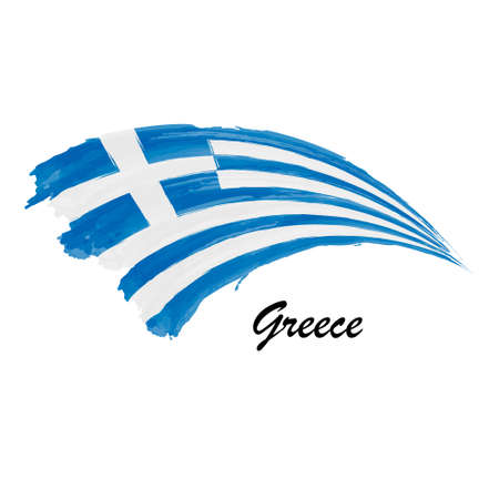Watercolor painting flag of Greece. Hand drawing brush stroke illustration Vector Illustration