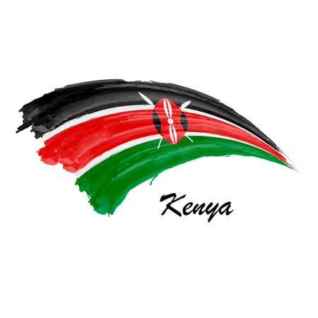 Watercolor painting flag of Kenya. Hand drawing brush stroke illustration Ilustração Vetorial
