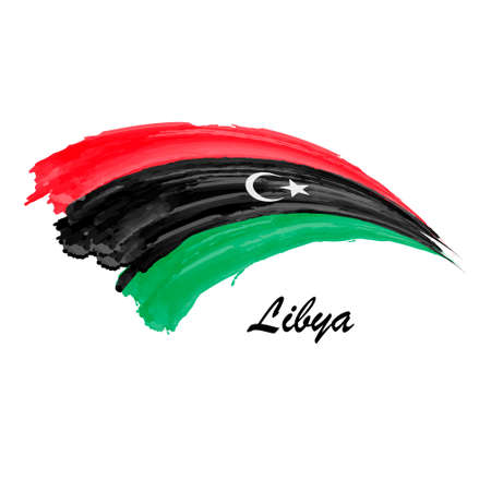 Watercolor painting flag of Libya. Brush stroke illustration