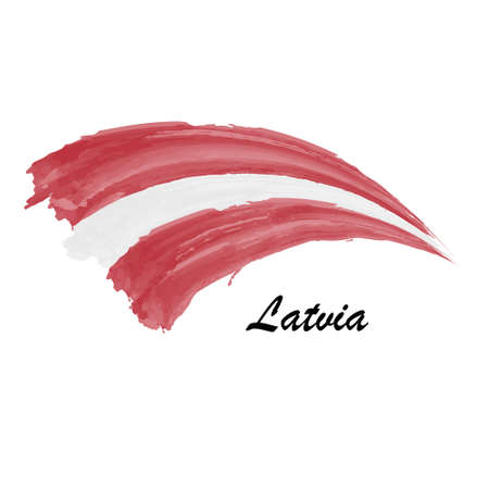 Watercolor painting flag of Latvia. Brush stroke illustration Иллюстрация