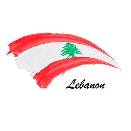 Watercolor painting flag of Lebanon. Brush stroke illustration Иллюстрация