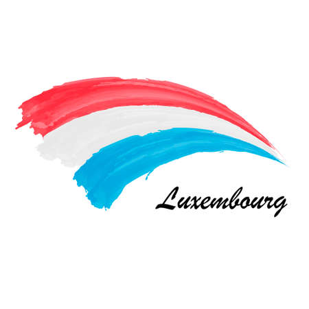 Watercolor painting flag of Luxembourg. Brush stroke illustratio Иллюстрация