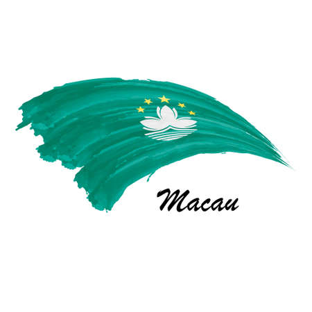 Watercolor painting flag of Macau. Brush stroke illustration