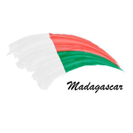 Watercolor painting flag of Madagascar. Brush stroke illustratio Иллюстрация