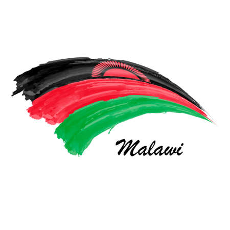 Watercolor painting flag of Malawi. Brush stroke illustration