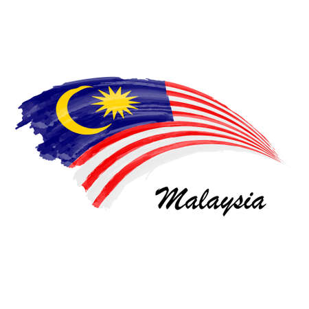 Watercolor painting flag of Malaysia. Brush stroke illustration Иллюстрация