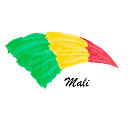 Watercolor painting flag of Mali. Brush stroke illustration Иллюстрация