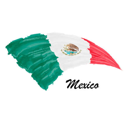 Watercolor painting flag of Mexico. Brush stroke illustration Иллюстрация