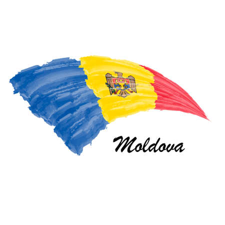 Watercolor painting flag of Moldova. Brush stroke illustration