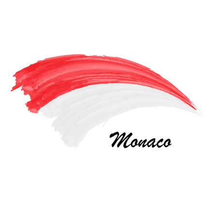 Watercolor painting flag of Monaco. Brush stroke illustration