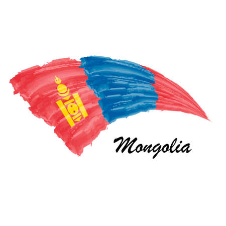 Watercolor painting flag of Mongolia. Brush stroke illustration
