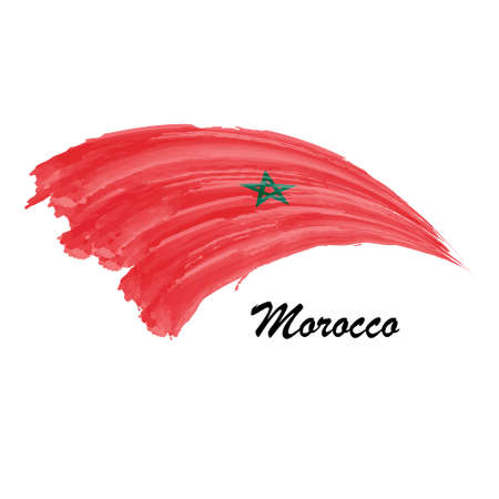 Watercolor painting flag of Morocco. Brush stroke illustration