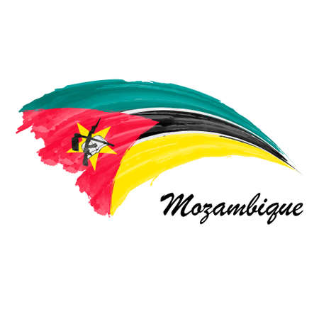 Watercolor painting flag of Mozambique. Brush stroke illustratio